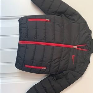 Kids Black Down Jacket with hood and zips.